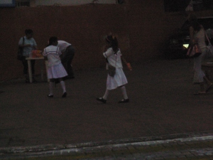 Children being walked to school