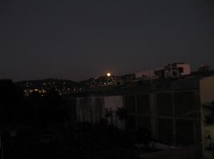 Setting moon 1 27 13 over hills of Zihuatanejo
