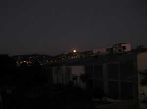 Setting moon 1 27 13 over hills of Zihuatanejo