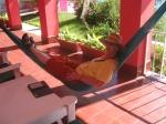 KO in hammock on terrace