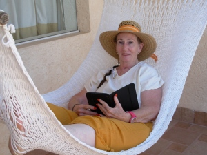 Reading in my terrace hammock