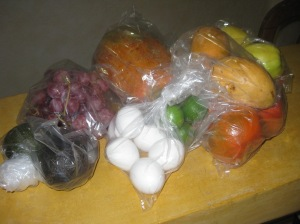 Fruit, veggies and eggs bought at the mercado
