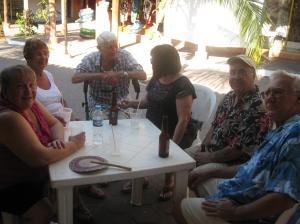Friends enjoying beer and margarita's
