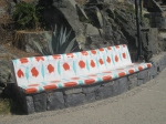 Decorated stone bench on way toPlaya La Madera