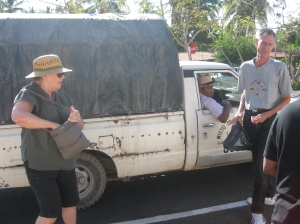 Silvia and Scott getting ready to board our transport to the museum