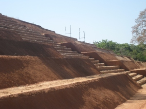 The pyramid  showing stone steps to the top