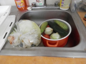 Fruits, veggies soaking
