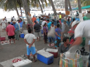 Fisherman selling their catch