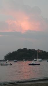 Sunrise Zihuatanejo Bay this morning, a reflection in the clouds as it is looking west