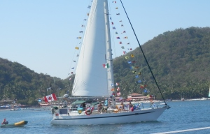 Sail boat decked out for the parade