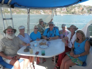 The Captains and guests on the Rapsculion, Pam far right, Henry back 4th in
