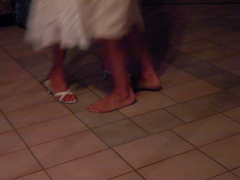 Usually it is the ladies that take off their shoes to dance