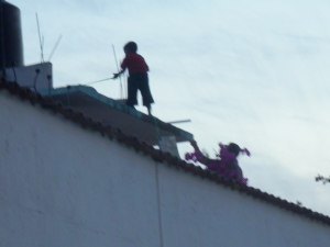 Dad boosts his son onto roof to rescue kite