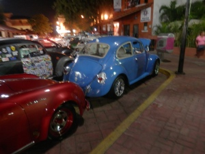 Beautiful blue VW bug with a sound system to die for