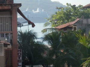 Cruise ship from our balcony