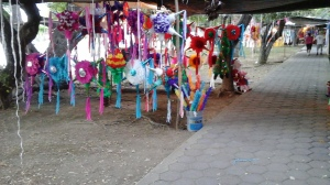 Many booths of Pinatas set up near Kyoyo Circle