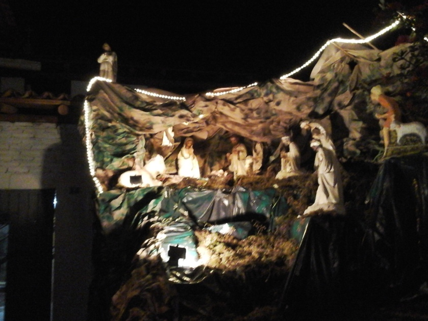 The nativity scene out side the church
