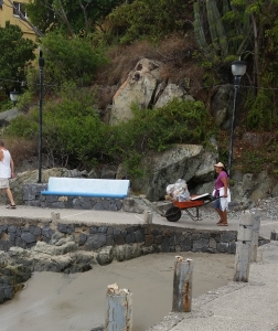 Hard working lady cleaning the La Madera path and beach