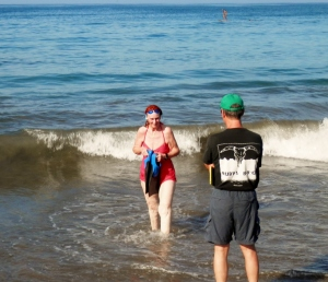 Me finishing the Sharkfest swim