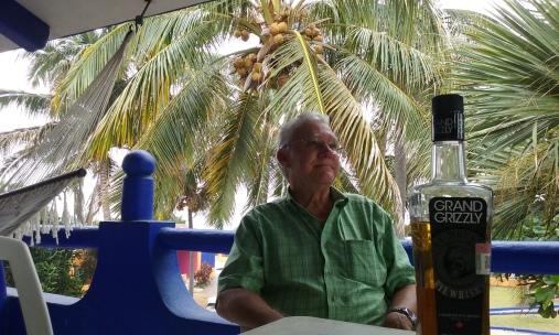 The Senor with Paul's bottle of rye whiskey