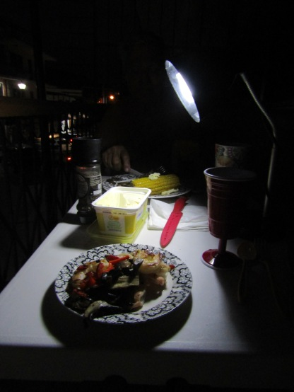 Lamp light dinner for two on our balcony